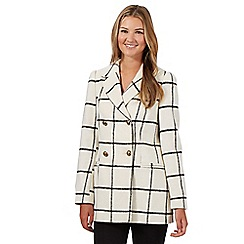 Red Herring - White checked brushed coat