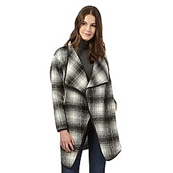 Red Herring - Black checked faux fur coat
