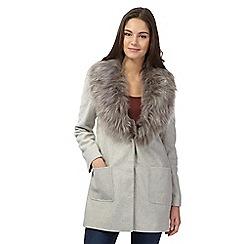 Red Herring - Grey faux fur city coat