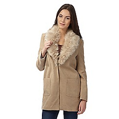 Red Herring - Light brown faux fur crombie coat