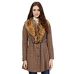 Red Herring - Dark brown checked faux fur coat
