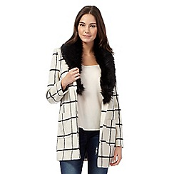 Red Herring - White checked fur collar coat