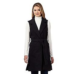 Red Herring - Navy sleeveless belted waistcoat