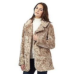 Red Herring - Taupe faux fur coat