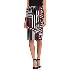 Red Herring - Black geometric striped pencil skirt