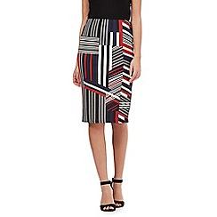 Red Herring - Black geometric striped pencil skirt