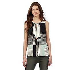 Red Herring - Black and light pink patchwork print sleeveless shell top
