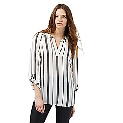 Red Herring - Cream striped print notch neck blouse