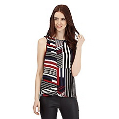 Red Herring - Black geometric striped shell top
