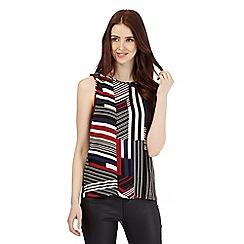 Red Herring - Black geometric striped shell top