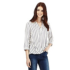 Red Herring - Cream textured stripe wrap front blouse