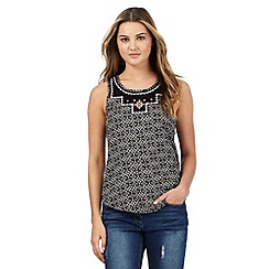 Red Herring - Black Aztec embroidered print top