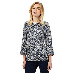 Red Herring - Navy print flute top