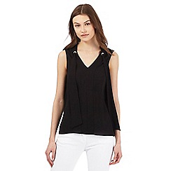 Red Herring - Black sleeveless tie neck blouse