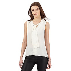Red Herring - White sleeveless tie neck blouse