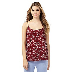 Red Herring - Dark red floral print vest