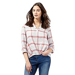 Red Herring - Red checked print wrap blouse