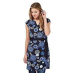 Red Herring - Navy flower print self tie waist dress