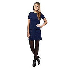 Red Herring - Blue jacquard pocket shift dress