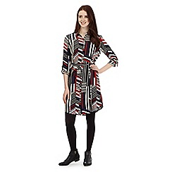 Red Herring - Black geometric striped shirt dress