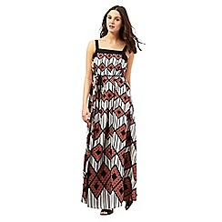Red Herring - Ivory geometric diamond print maxi dress
