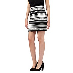 Red Herring - Black Aztec striped print skirt