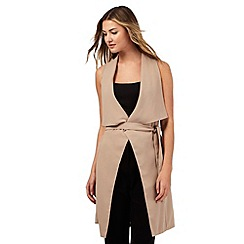 Red Herring - Taupe draped sleeveless duster