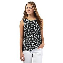Red Herring - Dark grey floral print shell top