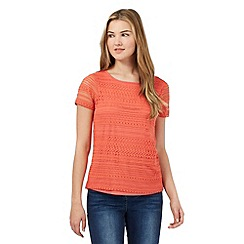Red Herring - Orange lace front top