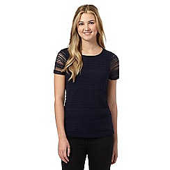 Red Herring - Navy lace front top