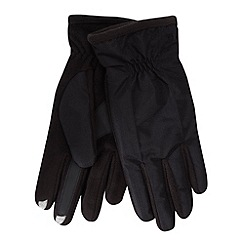 Isotoner - Black touch screen fleece palm gloves