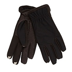 Isotoner - Black palm tread touch screen gloves