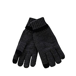 The Collection - Grey ribbed tip touch screen gloves
