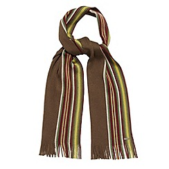 J by Jasper Conran - Designer khaki striped border wool scarf