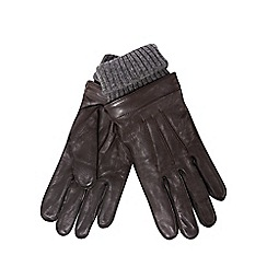 Hammond & Co. by Patrick Grant - Brown leather ribbed cuff gloves