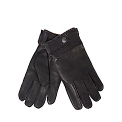 Hammond & Co. by Patrick Grant - Black leather ribbed cuff touchscreen gloves