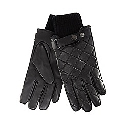 Hammond & Co. by Patrick Grant - Black leather quilted gloves