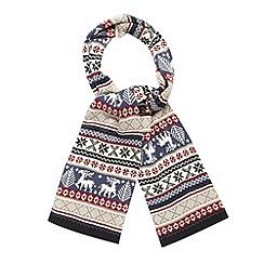 Red Herring - Grey reindeer fairisle scarf