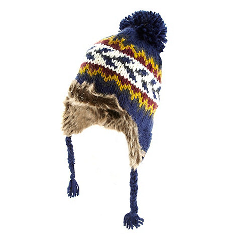 Mantaray - Dark blue fairisle knit pervuain hat
