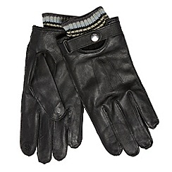 RJR.John Rocha - Designer black striped cuff touch screen leather gloves