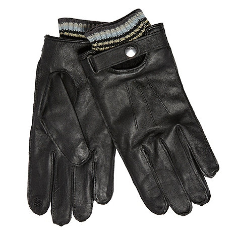 RJR.John Rocha - Designer black striped cuff touch screen leather gloves