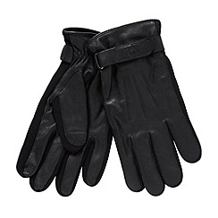 Jeff Banks - Designer black elasticated trim leather touch screen gloves