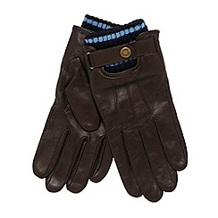 Dents - Dark brown striped cuff leather gloves