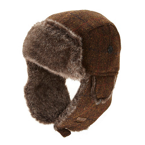 RJR.John Rocha - Designer brown Harris tweed trapper hat