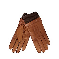 Hammond & Co. by Patrick Grant - Tan leather ribbed cuff gloves