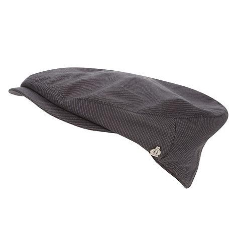 Jeff Banks - Designer dark grey pinstriped flat cap