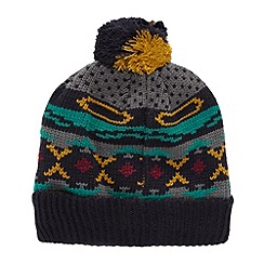 Red Herring - Grey patterned knitted bobble hat