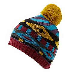 Red Herring - Turquoise geometric beanie hat