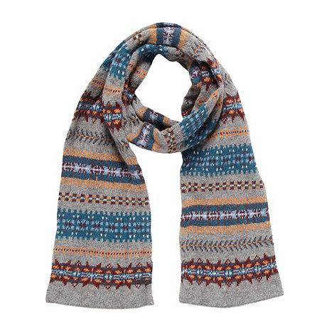RJR.John Rocha - Designer grey fairisle wool blend knit scarf