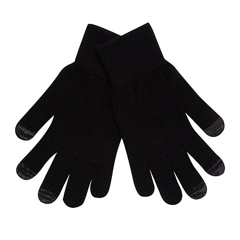 Red Herring - Black knitted touch screen gloves